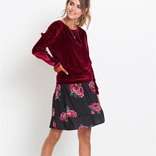Longra Uni Col Femme Sweat Automne Taille 2017 manches shirts Chic Pull hiver Rouge Classique Chemisiers Grande rond Shirt longues Originaux Volants Vintage Velours Blouses Tops CzCP8qw