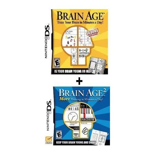 (2) Games – Brain Age Part 1 and 2 Bundle For Nintendo DS. Train Your Brain!