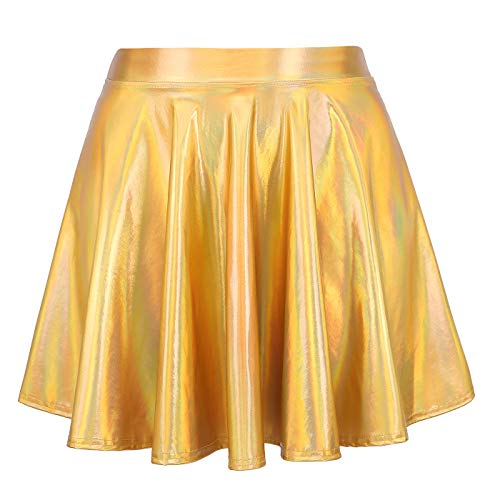 HDE Women's Shiny Liquid Metallic Holographic Pleated Flared Mini Skater Skirt (Gold, Small) ()