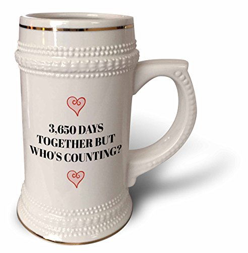 3dRose Xander funny quotes - 3650 days together, but whos counting, black letters and heart pictures - 22oz Stein Mug (stn_265918_1)