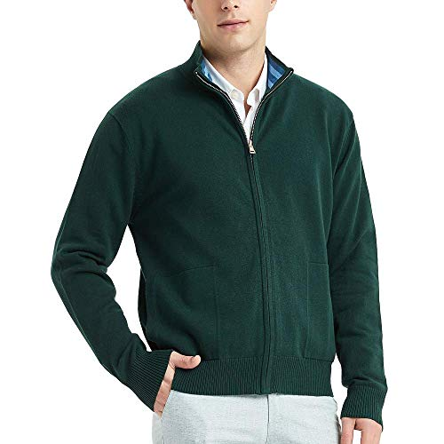 (Kallspin Men's Cotton Blend Full Zip Cardigan Sweaters Relaxed Fit Outwear with Pockets (Dark Green, L))
