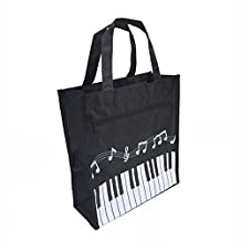 Crosstreesports 450D Oxford Cloth Piano Keys Music Tote Bag Grocery Tote Shopping Bag (Large, Black)