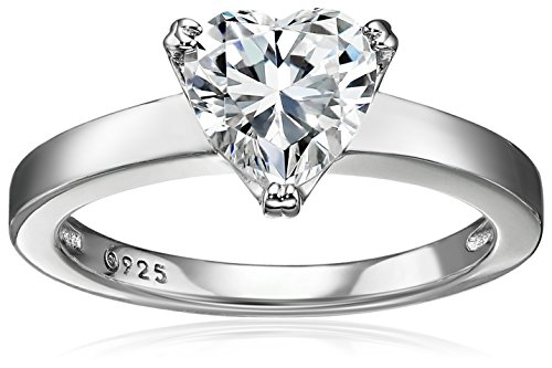 (Platinum-Plated Silver Heart-Shape (1.5 cttw) Solitaire Ring made with Swarovski Zirconia, Size 5)