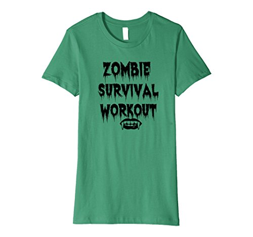 90's Workout Costume (Womens Zombie Survival Workout Shirt Halloween Costume T-Shirt Small Kelly Green)
