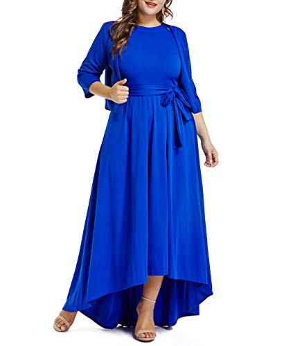 LALAGEN Womens Plus Size Sleeveless Belted Party Maxi Dress with Cardigan Blue