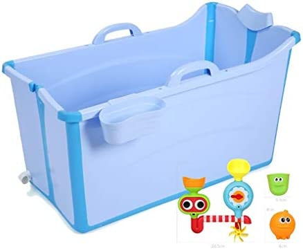 独立した断熱材で大規模な折り畳み式のバスタブのシャワープラスチック簡単ドレンバスタブ (Color : Blue)