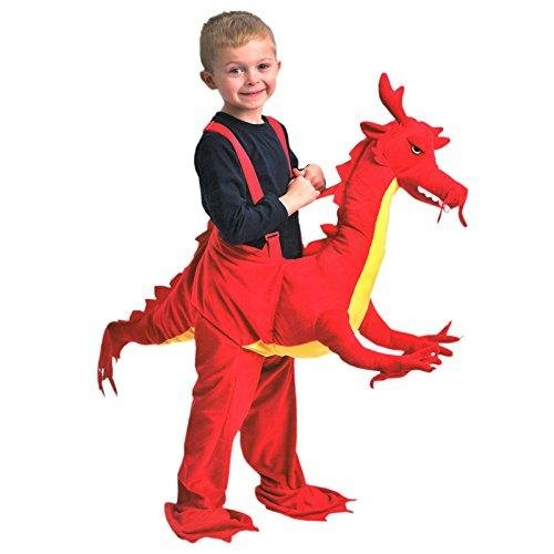 Dragon Rider Child Costumes (Children Dragon Red Rider Dress Up Fancy Dress Costume Age 3 - 7 Years - Dragon fancy dress - dragon costume by Play & Pretend)