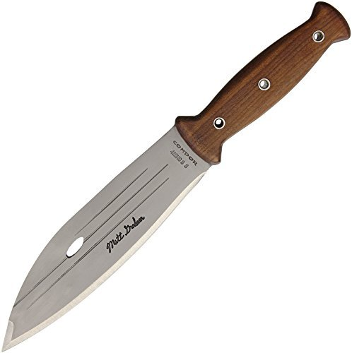 Condor Tool Knife, Primitive Bush Knife, 8in Blade, Wood Handle with Sheath