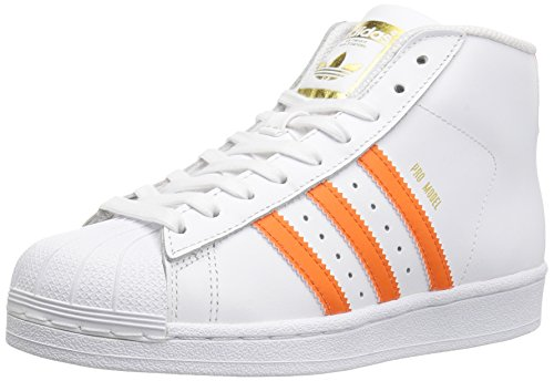 (adidas Originals Boys' PRO Model J Running Shoe, White/Energy Orange Metallic/Gold, 5.5 M US Big Kid)