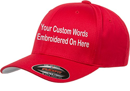 (Custom Hat. Flexfit 6277 Embroidered. Your Own Text Curved Bill. (S/M, Red))