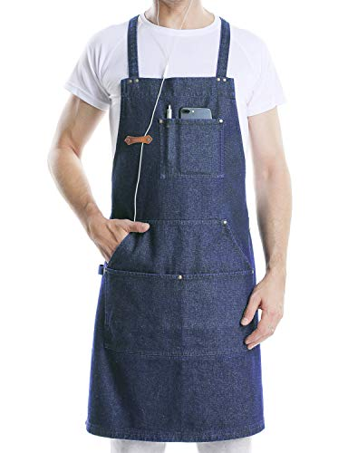 - VANRICH LDG Denim Apron for Cooking BBQ Kitchen Grill, Professioanl Chef Grade Aprons for Men Women with Tool Pockets,Quick Release Buckle and Towel Loop,Adjustable M to XXL