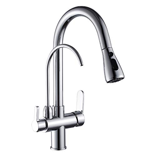 Dual Filter Drinking Water System - WANFAN Commercial Lead Free Pull Out Kitchen Sink Faucet Dual Handle 3 in 1 High Arc Water Filter Purifier Faucets (Polished Chrome)