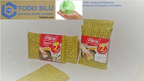 ANTI-SCRATCH SPONGE FOR TEFLON, ANTIBACTERIAL BIODEGRADABLE, 10 UNITS by Fibro
