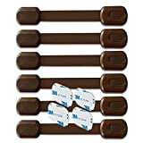 BabyKeeps Child Safety Locks - Latches to Baby Proof Cabinets, Drawers, Appliances - No Drilling - Plus Extra 3M Adhesive Included - Adjustable Length (Brown)