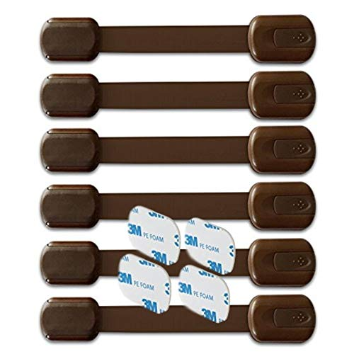 - BabyKeeps Child Safety Locks - Latches to Baby Proof Cabinets, Drawers, Appliances - No Drilling - Plus Extra 3M Adhesive Included - Adjustable Length - 6 Pack, Brown