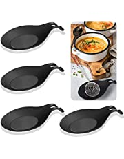 4 Pcs Flexible Spoon Rest, Silicone Spoon Rest Holder Kitchen Utensil Rest Ladle Spoon Holder for Kitchen Stove Top - Black
