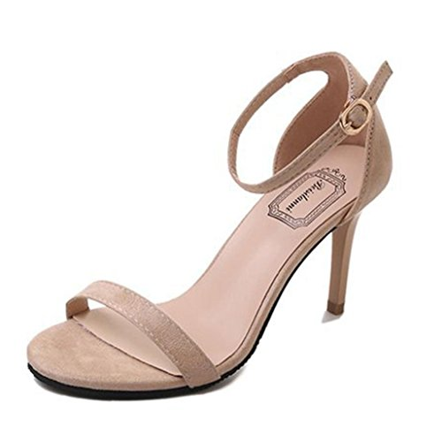 IGEMY 2018 Mode Damen Sandalen, Ankle High Heels Block Party offene Zehe Schuhe Beige
