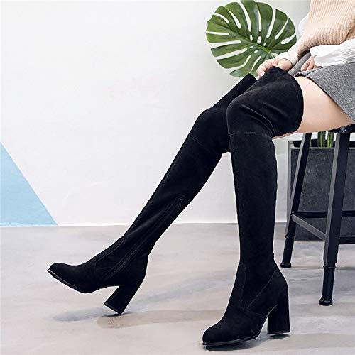 Liuxc High Heels Damenstiefel, Herbst und Winter hohe Stiefel, Stiefel, Knie, Spitze PU hochhackig, dünne Strecke