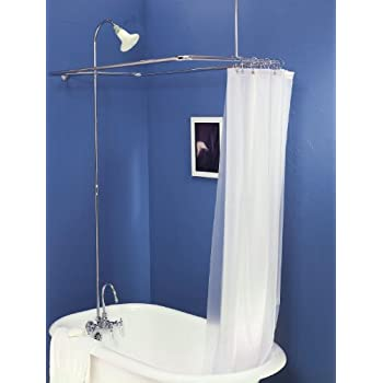 Add On Shower For Clawfoot Tub With Riser U0026 Diverter Faucet With Shower  Curtain And Rings