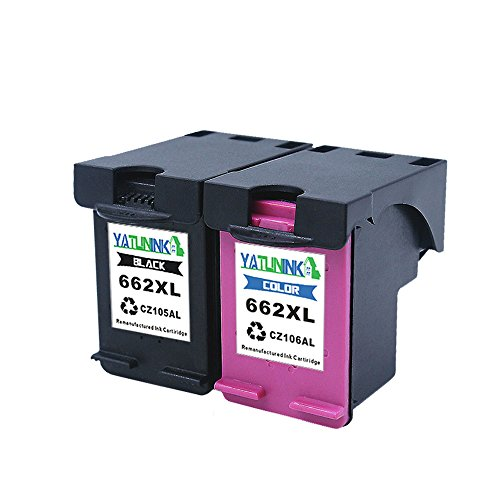 cements Black&Colour Multipack With Real Ink Level Showing For 662XL Ink Carts(CZ105AL/CZ106AL) Fit Deskjet Ink Advantage 4645 Deskjet Ink Advantage 4666 ()
