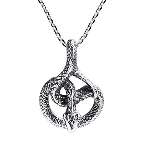 AeraVida Unique & Detailed Coiled Snake .925 Sterling Silver Pendant Necklace ()