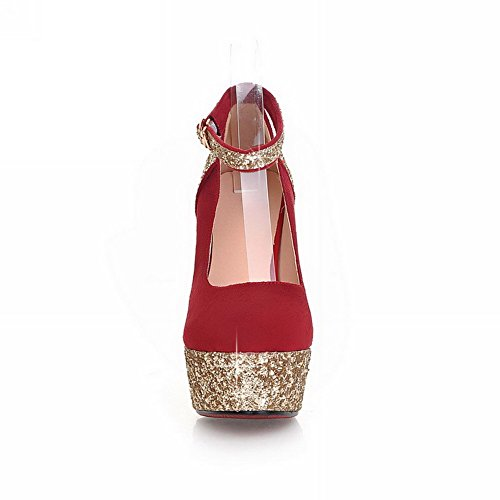 VogueZone009 Womens Closed Round Toe High Heel Platform PU Frosted Assorted Colors Pumps with Sequin, Red, 3.5 UK