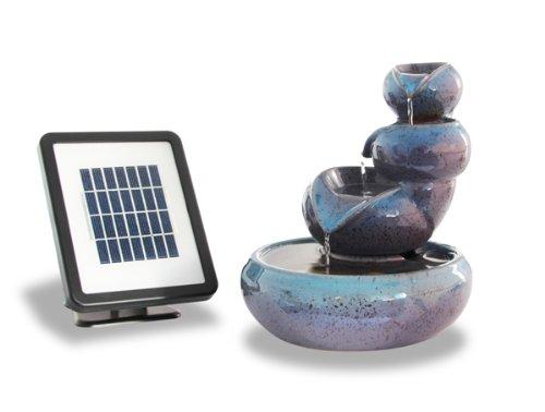 25cm Cosmos Solar Ceramic Oil Jar Three Tier Cascade Water Feature by Solaray Primrose