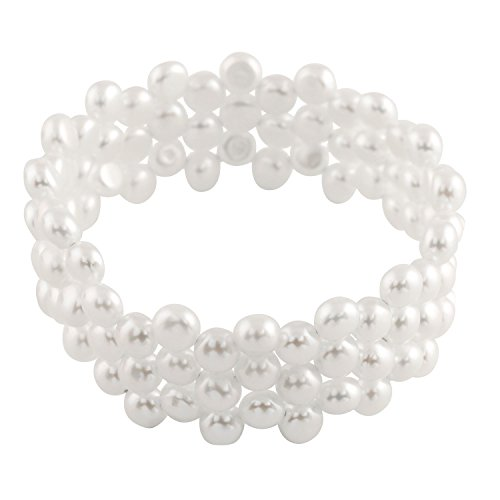 3-Row Handpicked White AAA+ 6-6.5mm Button Freshwater Cultured Pearls Bangle Bracelet 7