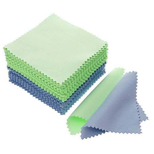 JUANYA 100pcs Jewelry Cleaning Cloth Polishing Cloth for Sterling Silver Gold Platinum (Green - Gold Cloth Velvet