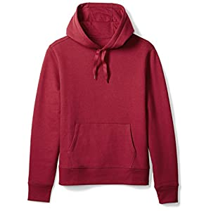 Amazon Essentials Men's Hooded Fleece Sweatshirt, Red, Large