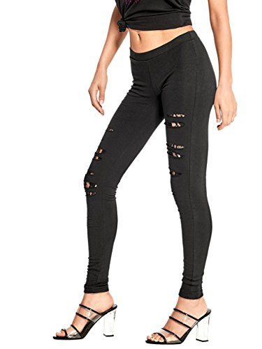 Black G Destroyed Guess Leggings Lace Jet By xYwaq8A