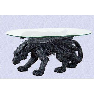 Amazoncom Gothic Medieval Mystical Dragon Coffee Table glass top