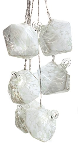 Allsop Home and Garden Aurora Glow Handblown Glass Solar String Lights, (6) Hand-blown Artisan Globes with Copper Hanging Hooks, Weather-Resistant for Year-Round Outdoor Use, (White Diamond) by Allsop Home and Garden