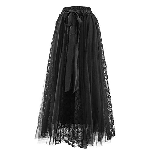 (Women's Lace Mesh A-Line Skirt Elastic High Waist Pleated Tulle Skirt Large Swing Flared Midi Long Length)