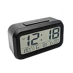 US Blue Robot LED Digital Clock Backlight Light Control LCD Snooze Electronic Alarm Clocks (Black)