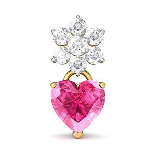 Or jaune 18 K 0,47 carat au total White-diamond (IJ | SI) et tourmaline rose Pendants d'oreilles