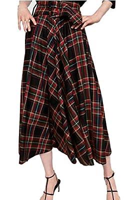 Qiangjinjiu Women Elastic High Waisted Plaid Skirt Flare A-Line Skirts