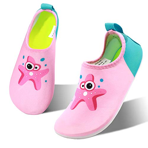 hiitave Kids Water Shoes Non-Slip Quick Dry Barefoot Beach Aqua Swim Pool Socks for Boys & Girls Toddler Pink/Starfish 7-8 M US -