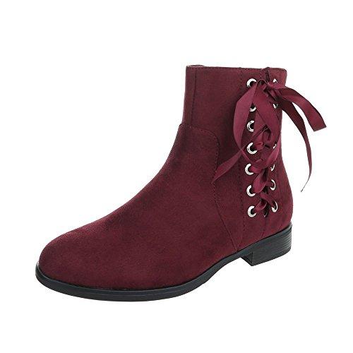 Ital-Design Chelsea Boots Damenschuhe Chelsea Boots Blockabsatz Blockabsatz Reißverschluss Stiefeletten Weinrot
