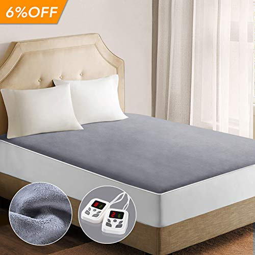 California Life Coral - Heated Mattress Pad Underblanket Dual Controller for 2 Users Soft Flannel 10 Heating Levels & 9 Timer Settings Fast Heating, Queen