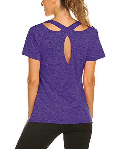 Women's Short Sleeve Yoga Tops Activewear Running Workouts T-Shirt Cross Back Sports Shirts Women Yoga Shirt S-XXL (Purple, - Sleeve T-shirt Short Workout