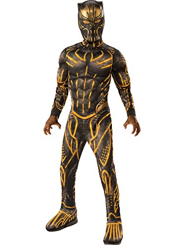 Rubie's Child's Deluxe Black Panther Movie Erik Killmonger Costume, Black/Gold, -