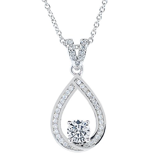 Cate & Chloe Arabella 18k White Gold Halo Pendant Necklace, Simulated Round Cut Diamond Necklace, Sparkling Wedding Anniversary Necklace for Women, Girls, Sparkle CZ Solitaire Crystal (Simulated Diamond Drop Necklace)