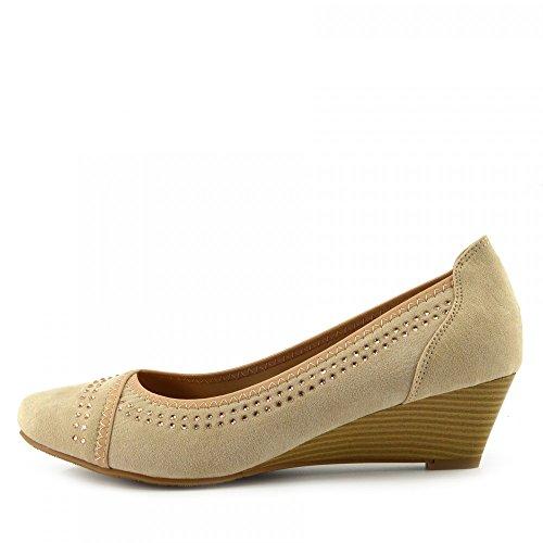Kick Footwear - Womens Faux Suede Low Heel Wedge Casual Work POSH Court Shoes Nude y3BpRL