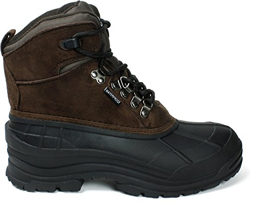 LABO Mens Winter Snow Boots Shoes Waterproof Insulated Lace UP (D,M) 103 BROWN-11