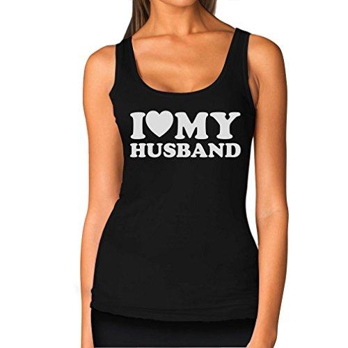 TeeStars Women's - I Love My Husband Tank Top X-Large Black