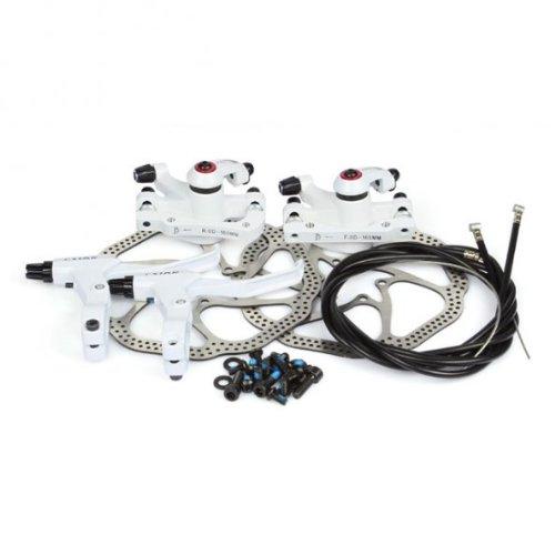 NV-5 HS1 Fahrrad Scheibenbremse Umbausatz 160mm 2xScheiben 2xBremse V&R Bike Disc Brake *Weiß*