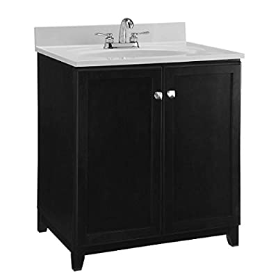 Design House 547000 Shorewood Furniture-Style Vanity Cabinet with 2-Doors, 30-inches by 21-inches, Espresso - 2-door vanity cabinet provides both style and storage space in your bathroom Concealed hinges provide a clean look Dark espresso finish with satin nickel hardware - bathroom-vanities, bathroom-fixtures-hardware, bathroom - 414XuOoih5L. SS400  -