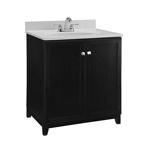 Design House 547000 Shorewood Furniture-Style Vanity Cabinet with 2-Doors, 30-inches by 21-inches, Espresso - 2-door vanity cabinet provides both style and storage space in your bathroom Concealed hinges provide a clean look Dark espresso finish with satin nickel hardware - bathroom-vanities, bathroom-fixtures-hardware, bathroom - 414XuOoih5L. SS570  -