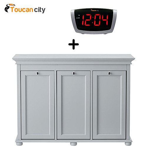 Laundry Clothes Triple Out Tilt (Toucan City Home Decorators Collection Hampton Harbor 37 in. Triple Tilt-Out Hamper in Dove Grey 2601330270 and LED Alarm clock)